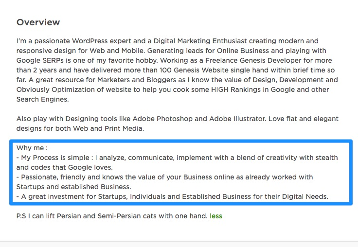 Profile overview for upwork